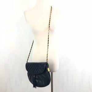 Vintage Lisette Navy Quited Chain Strap Crossbody